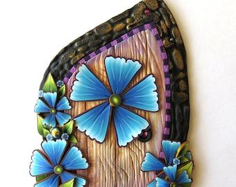 Bold Blue Flower Garden Fairy Door