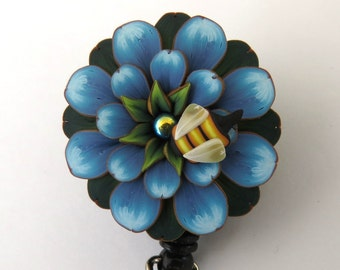 Little Bee on a Blue Flower ID Badge Reel, Scissor Keeper, ID Lanyard, Scissor Fob