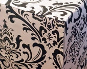 Designer or Solid Canvas Dog Crate Cover in ALL sizes - YOU Choose Fabric - Traditions Damask Black/White shown