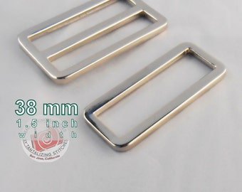 5 Sets One Piece Alloy Adjustable Strap Kit with slide and rectangle ring - 1.5 Inch / 38mm Width (available in nickel finish)
