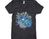 Womens T Shirt - Bloom - Heather Black American Apparel