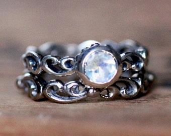 Rainbow moonstone engagement ring set, blue moonstone ring, bezel engagement ring, engagment ring, swirl engagement ring, Water dream custom
