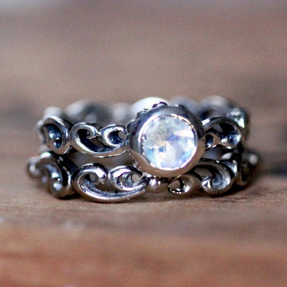 Rainbow Moonstone Engagement Ring Set Blue Moonstone Ring