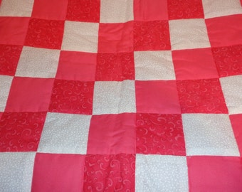 Peachy and White Patchwork Baby Toddler Quilt