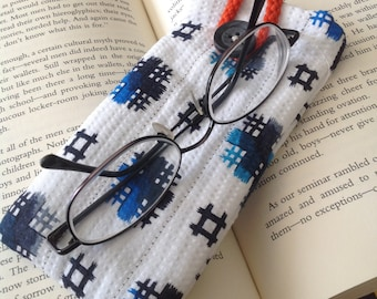 Quilted Eyeglass Case - Blue and white