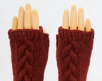 Maple Syrup Brown Wool Arm Warmer Fingerless Mitts or Gloves