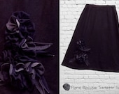 Blossom Sweater Skirt  L/XL Large Navy Steel Blue Ruffled Floral Recycled