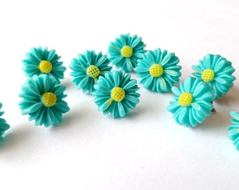 Turquoise Daisy Flower Thumbtacks, Push Pins Set. Perfect for Bulleting Boards, Office Gifts, Office Decor.