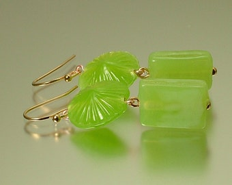 Handmade jewelry rose gold fill, lime green, shell pressed glass, earrings, birthday gift, wedding gift, jewelry jewellery