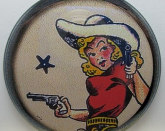 Pocket Hand Make-up Mirror 2.25 inch - Vintage Western Cowgirl w/Pistol Six Shooter