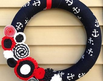 4th of July Wreath - Patriotic Wreath - Anchor Wreath - Nautical Wreath - Red,White, & Blue Wreath - July 4th Wreath - American Wreath