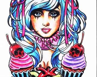 super cute CUPCAKE GIRL temporary tattoo