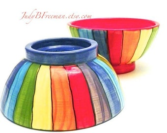Ceramic Bowls Rainbow Striped Two Stoneware Handmade Made to Order Kitchen Home Decor BWL0010