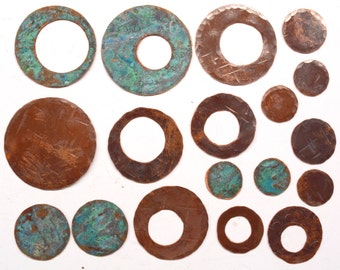 Handmade Copper Components  - 18 pieces JC173