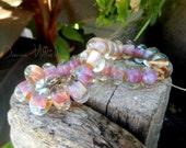 SRA Handmade LAMPWORK Glass Beads Donna Millard silver glass blue purple 12 beads