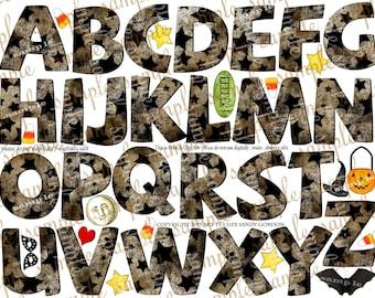 ART TEA LiFE Halloween Stars Alphabet Collage Sheet digital file printable download decoupage clip art scrapbook lettering banner lettering