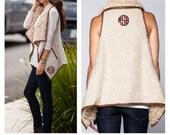 Vanilla Faux Fur Vest  - Tan Monogrammed Faux Fur Vest  - Women's Vest - Ladies Monogrammed Vest - Monogram Faux Fur Shearling Vest