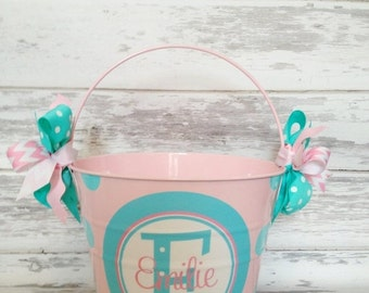 ON SALE Monogrammed Pale Pink Bucket with Stacked Name design