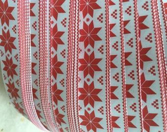 "5/8"" Weaving Star Paper~ Red Print Nordic Stars (50 strips)"