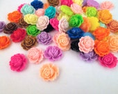 10 multicolor rose cabochons, cute 16x18mm ruffle flower cabs