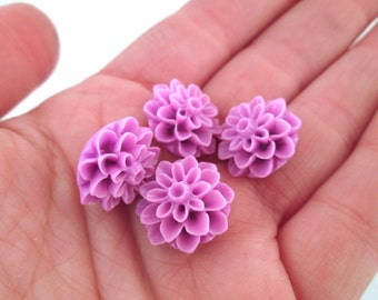 Liliac purple 15mm flower mum cabochons, chrysanthemum cabs