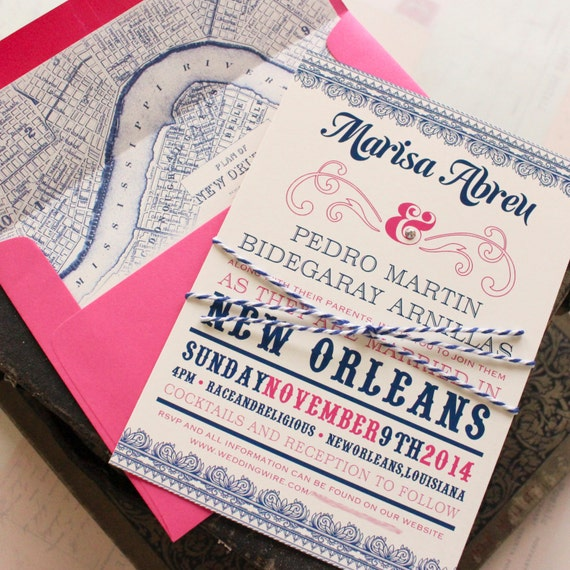 Typography Wedding Invitation New Orleans Design Fee
