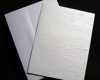 Music Note Embossed Note Cards - Set of 5, Sheet Music Notecards, Blank Cards, Thank You Cards, Stationary cards