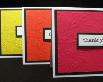 Paisley Primary Colored Horizontal Embossed Thank You Note Cards - Set of 5, Blank Cards, Stationary Cards - With Embossed Envelopes