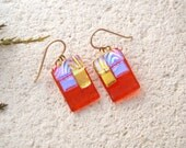 Orange Blue Gold Earrings, Dichroic Lightweight, Dichroic Jewelry, Fused Glass Jewelry, Dangle Drop Earrings, Gold Filled, OOAK, 022816e102