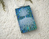 Tree of Life, Fused Glass Jewelry, Dichroic Glass Pendant,, Dichroic Jewelry, Rooted Tree, Blue Nature Jewelry, Silver Necklace, 061116p102