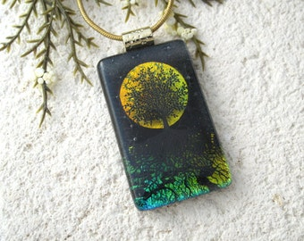Tree of Life Necklace, Sunset Tree, Gold Necklace , Rooted Tree, Dichroic Jewelry, Fused Glass Jewelry, Tree of Life Pendant, 061216p107