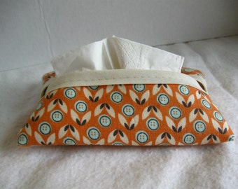 Pocket Tissue Holder - Orange Floral Tissue Cover - Fabric Tissue Case - Fall Tissue Cozy