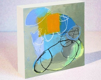 Abstract Art Print on Wood Block Featuring Blue, Green and Orange Design, 6 x 6, 8 x 8 or 10 x 10