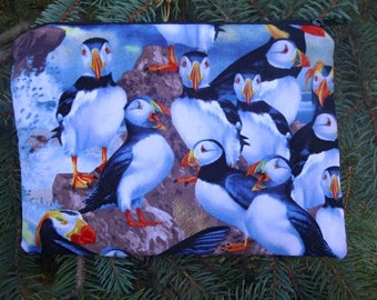 Puffins zippered bag, makeup case, zippered pouch, accessory bag, The Scooter
