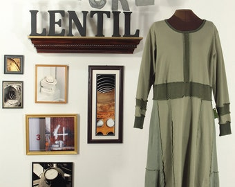 Warm Sage and Olive Green upcycled dress Extra Large