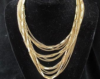 Vintage Multi Strand Chain Necklace 1940s Costume Gold Colored Metal Retro Mid Century