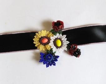 Beadwoven Floral Choker Necklace. Colorful Beadwork . Flower Pendant. White Yellow Blue - Black Silk Choker by enchantedbeads on EtsyBlue, Y
