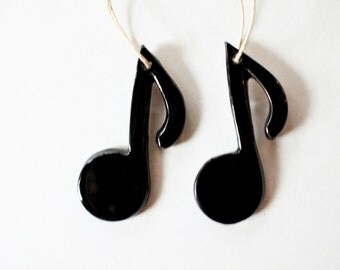 TWO Musical Note ornaments - 8th Note - BAND ornaments, gift box included, ready to mail