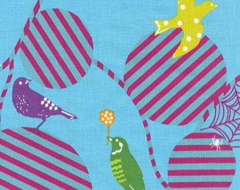 Echino Birds Web Blue OOP Fabric- HALF YARD