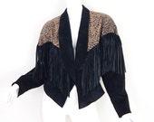 Size M 80s Suede Fringe Jacket - Vintage Women's Cheetah Print Black Batwing Sleeve Big Shoulder Jacket