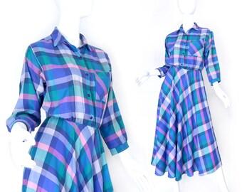 Sz P S 80s Pastel Plaid Maxi Shirt Dress - Women's Vintage Alison Peters Pink Green Purple Madras Long Bias Cut Skirt Day Dress