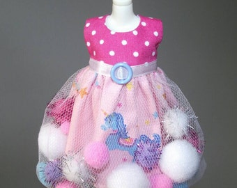 SALE Pink and Blue Unicorn pom-pom dress for Blythe and Pullip