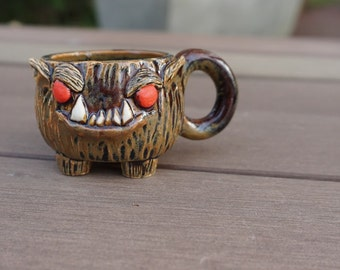ceramic werewolf pup shot/espresso glass