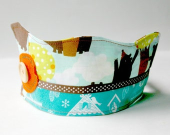 Trees & Bears Birthday Crown: Patchwork Fabric Dressup Toy for Kids Age 2 and Up