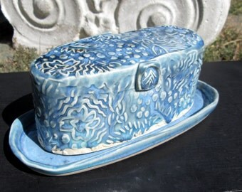 CLEARANCE Handmade Butter Dish with Botanical Texture in Turquoise Blue