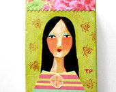 ORIGINAL acrylic painting Happy New Year Girl lime green fresh art for 2016 mixed media collage portrait painting ACEO mini art by Tascha