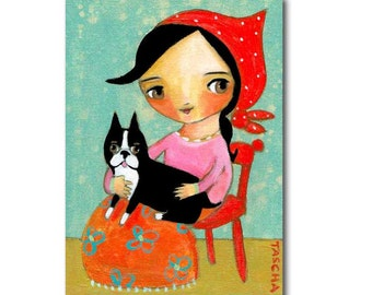 Original Boston Terrier painting dog folk art Babushka girl with her dog nursery room wall decor acrylic painting by TASCHA