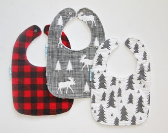 Lumberjack Boy bibs - forest bibs - baby bibs - red buffalo plaid bibs - girl bibs - Lumberjack bib - moose bib - red plaid bib -Lumberjane