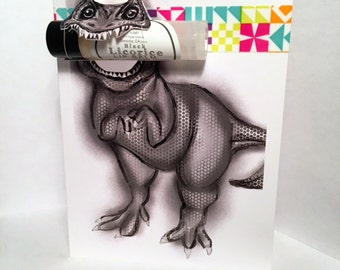 Dinosaur Greeting Card with Lip Balm