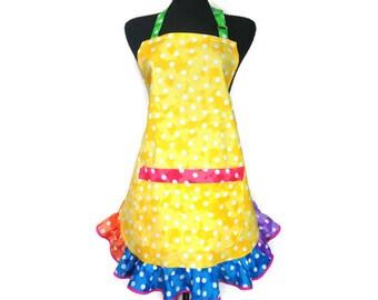 Multicolor Polka Dot Apron for Women, Yellow,  Rainbow Kitchen Decor, Retro Style, Girl Clown